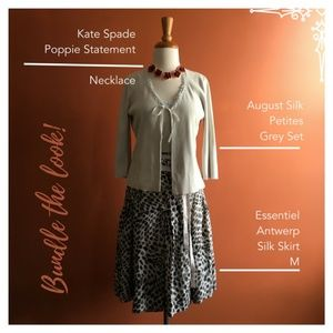 ESSENTIEL ANTWERP Wrap Gray Polka Dot Skirt M  /38